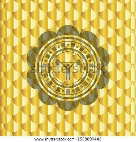 weightlifting icon inside gold badge or emblem. Scales pattern. Vector Illustration. Detailed.