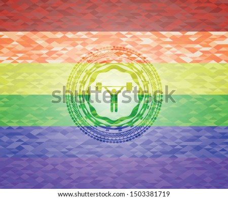 weightlifting icon inside lgbt colors emblem