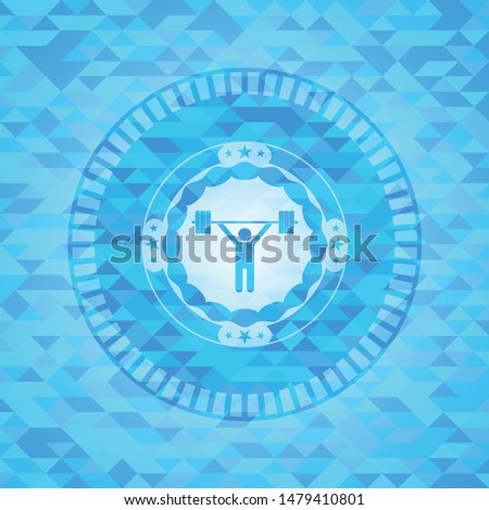 weightlifting icon inside light blue emblem with mosaic ecological style background