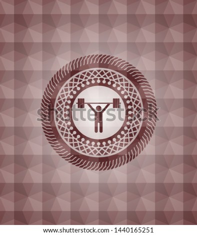 weightlifting icon inside red geometric pattern emblem. Seamless.