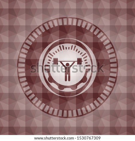 weightlifting icon inside red seamless badge with geometric pattern background.