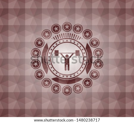 weightlifting icon inside red seamless geometric pattern emblem. Seamless.