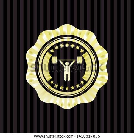 weightlifting icon inside shiny badge