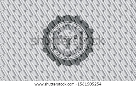 weightlifting icon inside silver emblem. Scales pattern. Vector Illustration. Detailed.