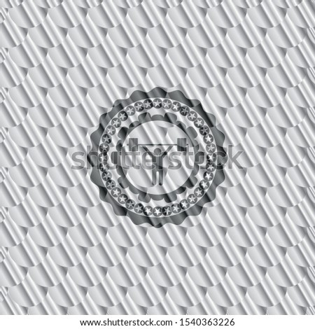 weightlifting icon inside silver shiny badge. Scales pattern. Vector Illustration. Detailed.