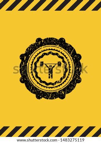 weightlifting icon inside warning sign, black grunge emblem. Vector Illustration. Detailed.