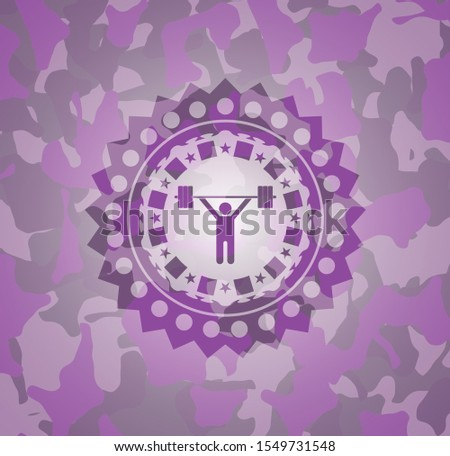 weightlifting icon on pink and purple camouflaged pattern