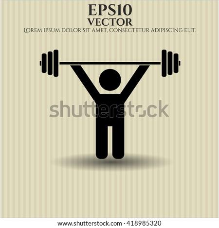 Weightlifting icon vector symbol flat eps jpg app web