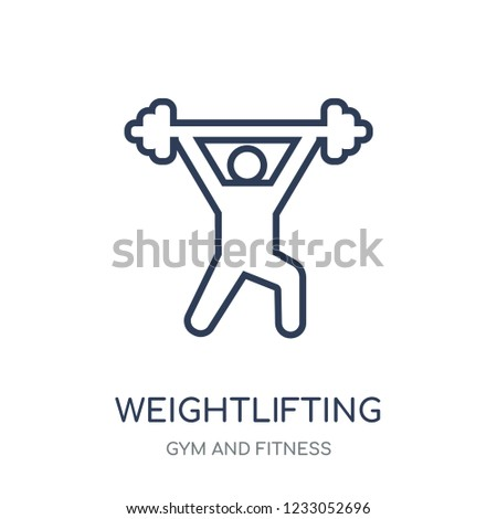 Weightlifting icon. Weightlifting linear symbol design from Gym and Fitness collection. Simple outline element vector illustration on white background