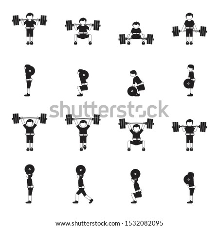 Weightlifting man icon set black. Vector.
