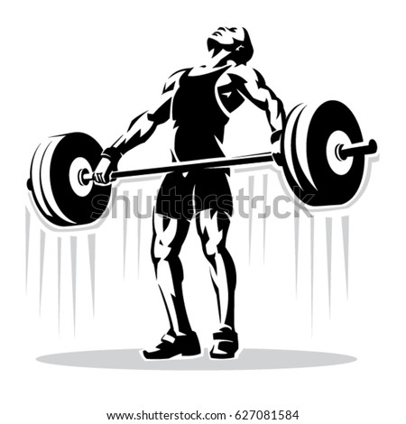 Weightlifting. Sport illustration in the stencil style