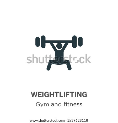 Weightlifting vector icon on white background. Flat vector weightlifting icon symbol sign from modern gym and fitness collection for mobile concept and web apps design.