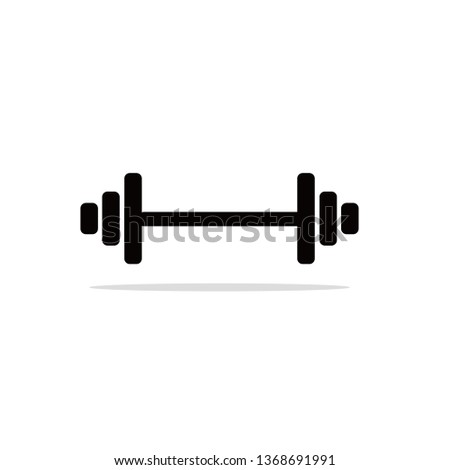 Weightlifting vector icon with shadow. Dumbbell sign. Sports concept. Strength symbol. Healthy activity. Barbell. Fitness workout. Flat simple line design.