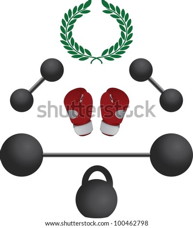 weights and boxer gloves.fourth variant. vector illustration