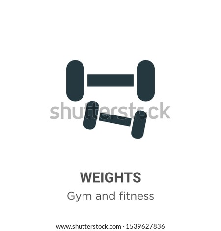 Weights vector icon on white background. Flat vector weights icon symbol sign from modern gym and fitness collection for mobile concept and web apps design.