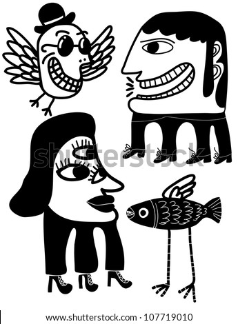 weird creature and people monster costume set - stock vector