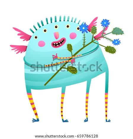 weird monster holding flowers