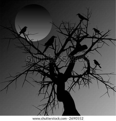 weird tree with birds   vector