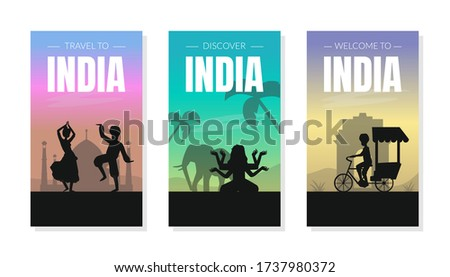 Welcome and Discover India Card Templates Set with Silhouettes of People and Famous Cultural Symbols Vector Illustration