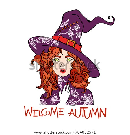 Welcome autumn. Beautiful girl. Witch hat. Flowers and leaves. Isolated vector object on white background.