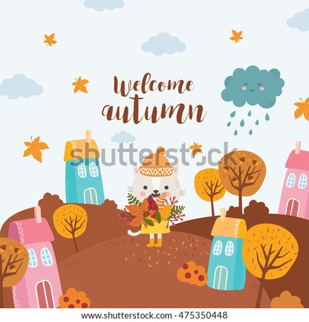 welcome autumn cat with a