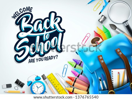 Welcome Back Banner with Blue Backpack and Supplies Like Notebook, Pen, Pencil, Colors, Ruler, Magnifying Glass, Eraser, Paper Clip, Sharpener, Alarm Clock