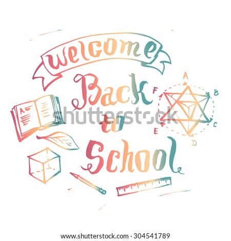 Welcome back to school background, vector illustration with education design elements. #304541789