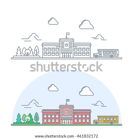 welcome back to school banner. thin line school building with yellow bus. linear education poster. isolated on white background vector illustration