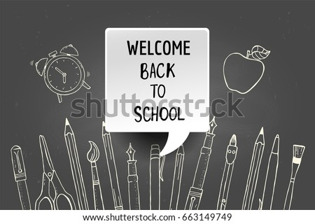 Welcome back to school. New school year poster. Hand drawn supplies. Vector illustration.