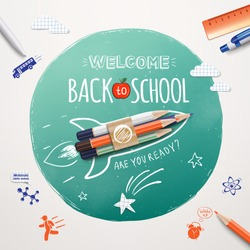 Welcome back to school. Rocket ship launch made with colour pencils. Realistic school items and elements. Welcome back to school banner. Vector illustration EPS 10