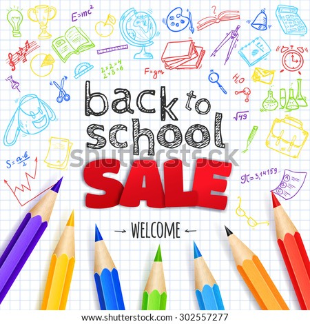 Welcome back to school SALE background, with hand drawn doodle elements and realistic pencils.  Vector illustration.
