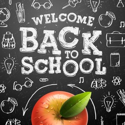 Welcome back to school sale background with red apple, vector illustration.