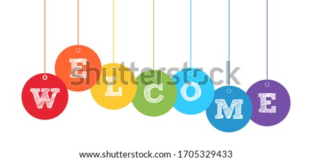 Welcome banner with color balls on white. Stock vector illustration Сток-фото ©