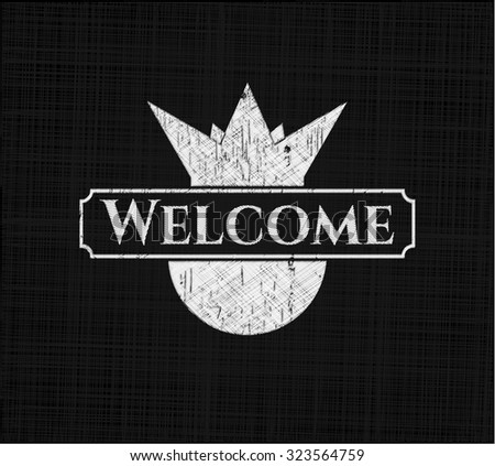 Welcome chalkboard emblem on black board
