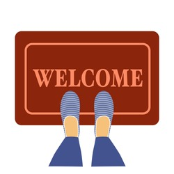 Welcome doormat with blue shoes in flat design concept vector illustration on white background.