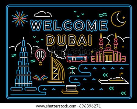 Welcome Dubai line neon light background. Attractions, Bus city tour, skyline, yacht, hot air balloon, mosque, culture, transportation, beach, creek.