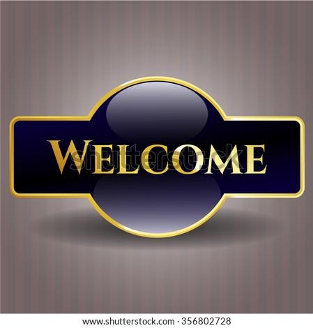 Welcome gold shiny emblem