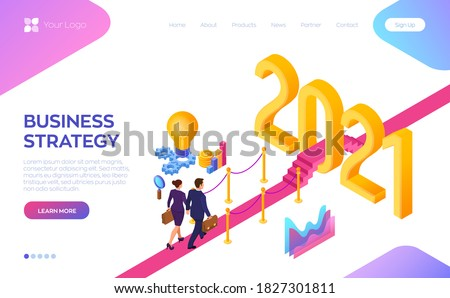 Welcome 2021. New Year. Path to New Year. Businessman and Businesswoman with briefcase in hand walking on red carpet to the 2021 New Year. Creative Idea. Vector Illustration.