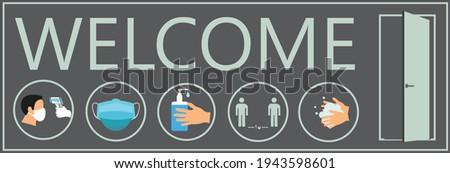 Welcome now open keep social distance and use face mask. Vector.Welcome we're open.Can be used for businesses to show they are still open during the coronavirus pandemic.  Photo stock ©