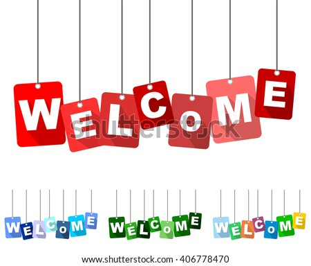 welcome  red vector welcome