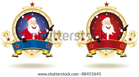 welcome Santa Claus. two labels for christmas with Santa Claus.