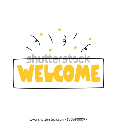Welcome sign, welcome page icon, invitation to attend or sign in, login, or register. Flat line vector illustration on white