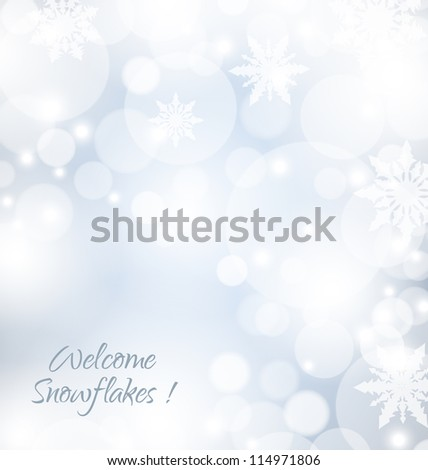 Welcome snowflakes abstract background with soft blue color