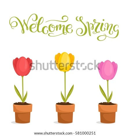 welcome spring  hand lettered