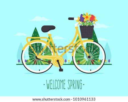 welcome spring yellow bicycle