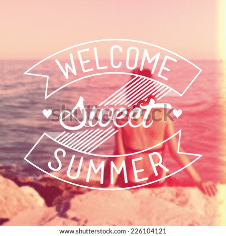 Welcome Sweet Summer Vintage Vector Background