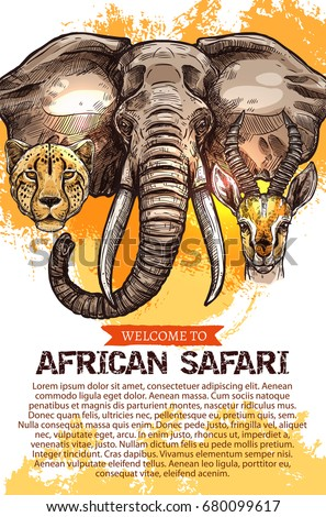 Welcome to African safari hunting poster. Vector design of wild Africa animals elephant, cheetah panther or jaguar leopard and gazelle antelope for hunter open hunting season or savanna hunt club