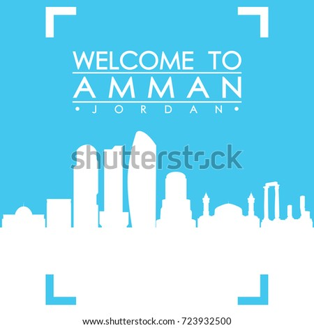 Welcome to Amman Skyline City Flyer Design Vector art