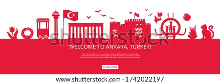 Welcome to Ankara, Turkey! Red city silhouette and famous Turkish landmarks. City skyline with symbols of Ankara. Travel to Turkey concept design. Horizontal banner design for a web page.
