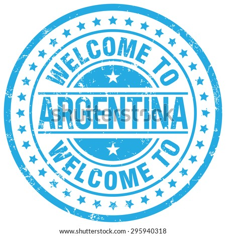 welcome to argentina stamp  blue
